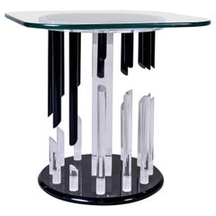 Midcentury Haziza Clear and Black Lucite Side Table