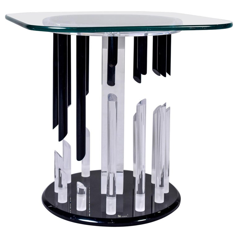 Midcentury Haziza Clear and Black Lucite Side Table For Sale