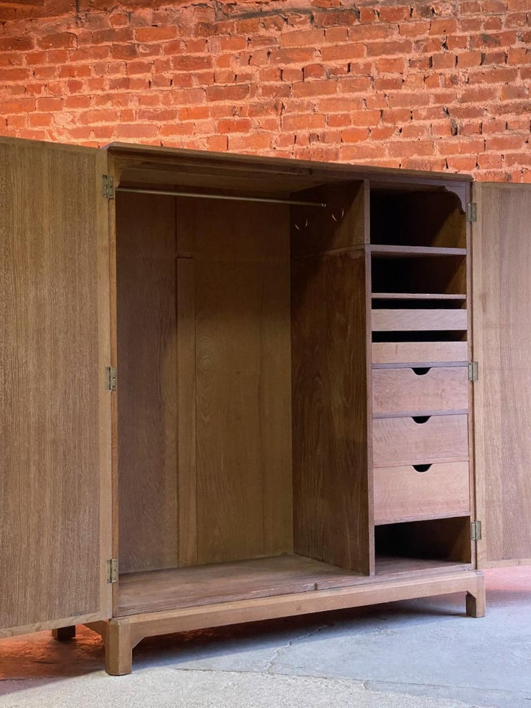 Midcentury Heal's Limed Oak Wardrobe Arts & Crafts Compactum, circa 1930 For Sale 5
