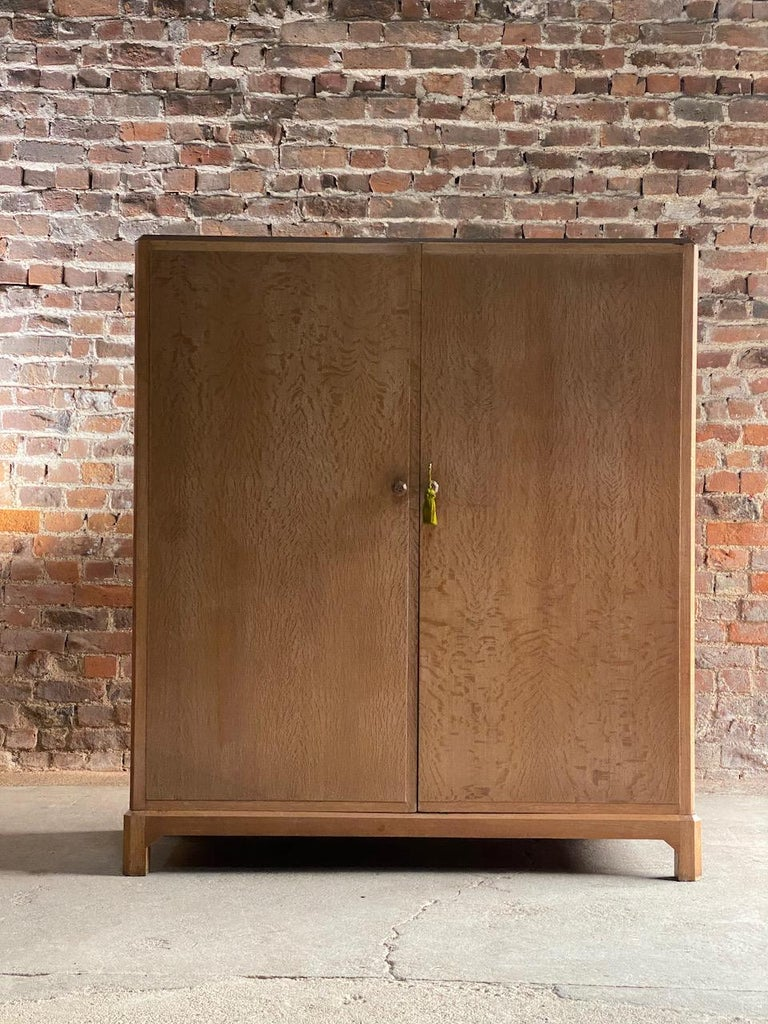 Arts and Crafts Midcentury Heal's Limed Oak Wardrobe Arts & Crafts Compactum, circa 1930 For Sale