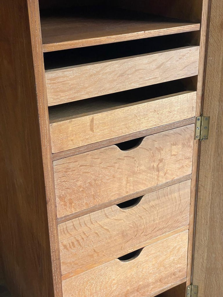 Mid-20th Century Midcentury Heal's Limed Oak Wardrobe Arts & Crafts Compactum, circa 1930 For Sale