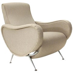 Midcentury hemp-colored fabric recliner armchairs, 1970s