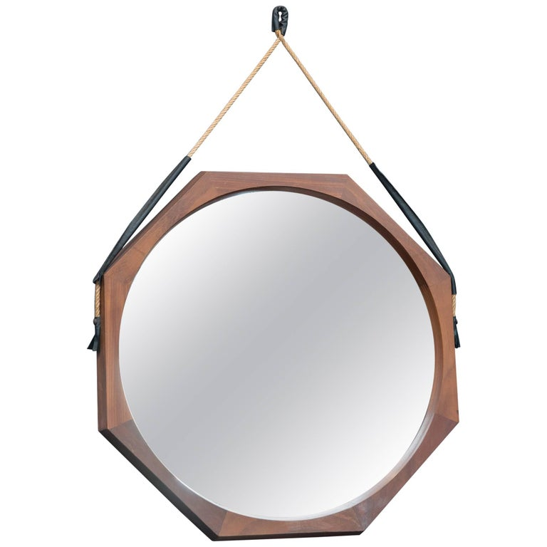 Midcentury Hexagonal Wall Mirror, Italy For Sale