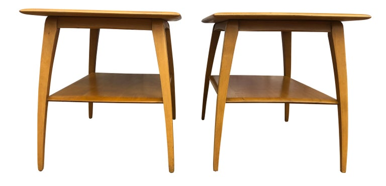 Mid-Century Modern Midcentury Heywood Wakefield #1502 Maple Nightstands End Side Tables For Sale