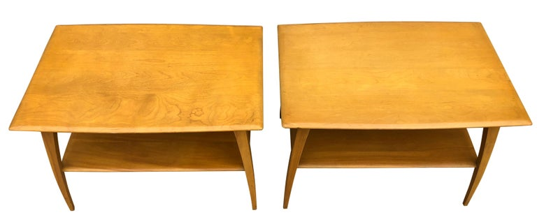 Midcentury Heywood Wakefield #1502 Maple Nightstands End Side Tables For Sale 1