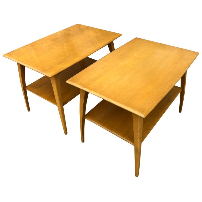 Midcentury Heywood Wakefield #1502 Maple Nightstands End Side Tables For Sale