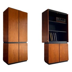 Midcentury HiFi Stereo Record Cabinet Stack by Barzilay in Black Walnut, 1970