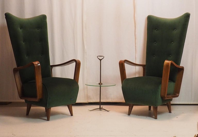 Midcentury High Back Italian Green Armchairs by Pietro Lingeri, Italy, 1950s For Sale 3