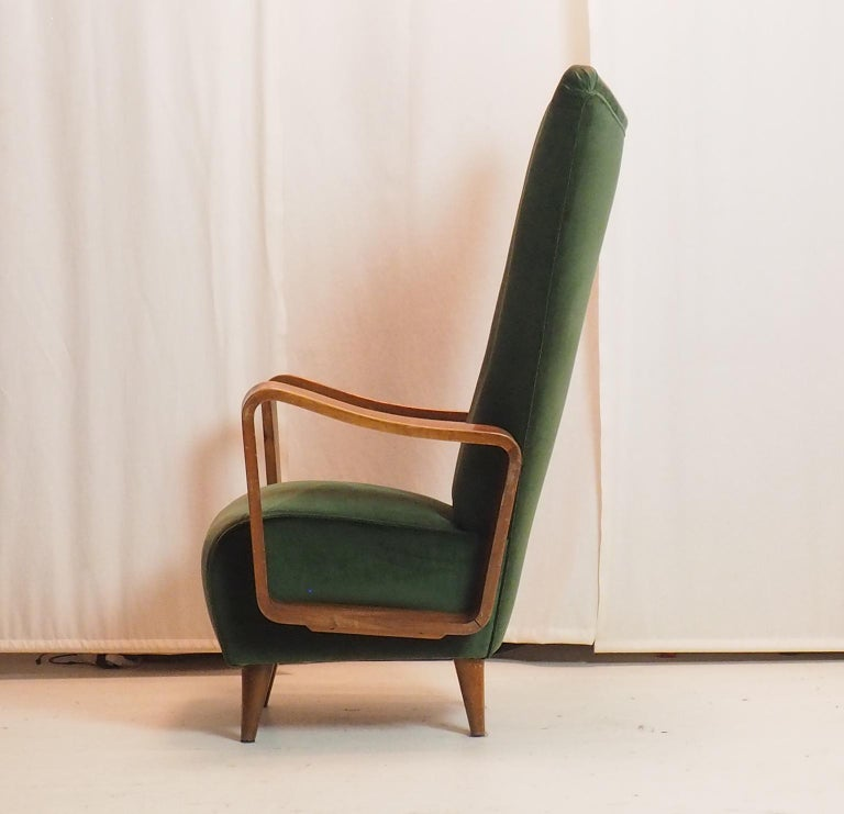 Midcentury High Back Italian Green Armchairs by Pietro Lingeri, Italy, 1950s For Sale 4