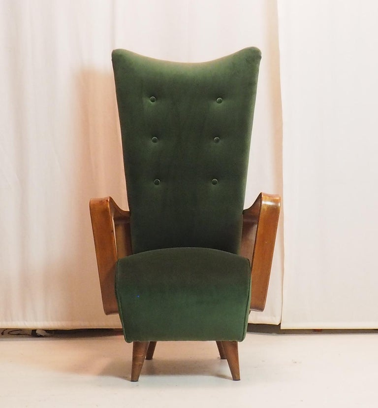 Midcentury High Back Italian Green Armchairs by Pietro Lingeri, Italy, 1950s For Sale 5