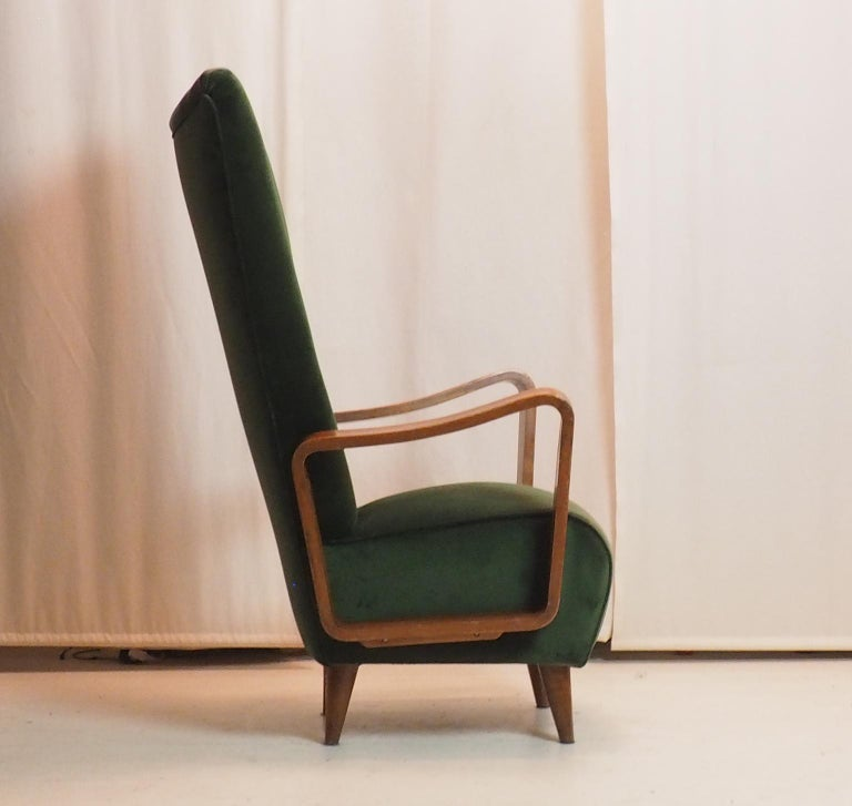 Midcentury High Back Italian Green Armchairs by Pietro Lingeri, Italy, 1950s For Sale 6
