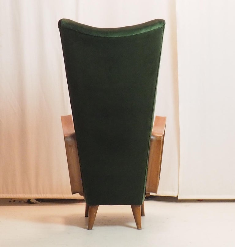 Midcentury High Back Italian Green Armchairs by Pietro Lingeri, Italy, 1950s For Sale 7