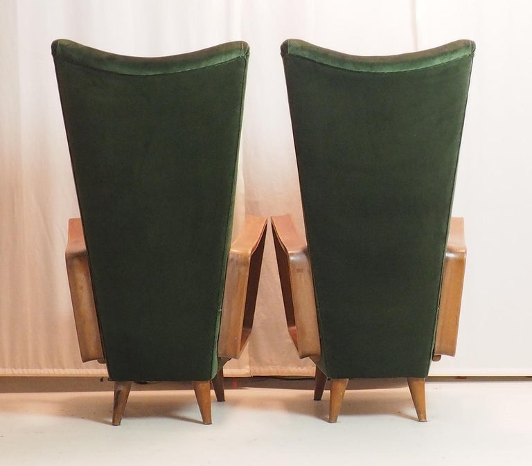 Midcentury High Back Italian Green Armchairs by Pietro Lingeri, Italy, 1950s For Sale 8