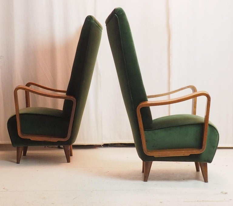 Midcentury High Back Italian Green Armchairs by Pietro Lingeri, Italy, 1950s For Sale 9