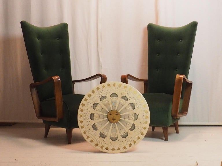Mid-Century Modern Midcentury High Back Italian Green Armchairs by Pietro Lingeri, Italy, 1950s For Sale