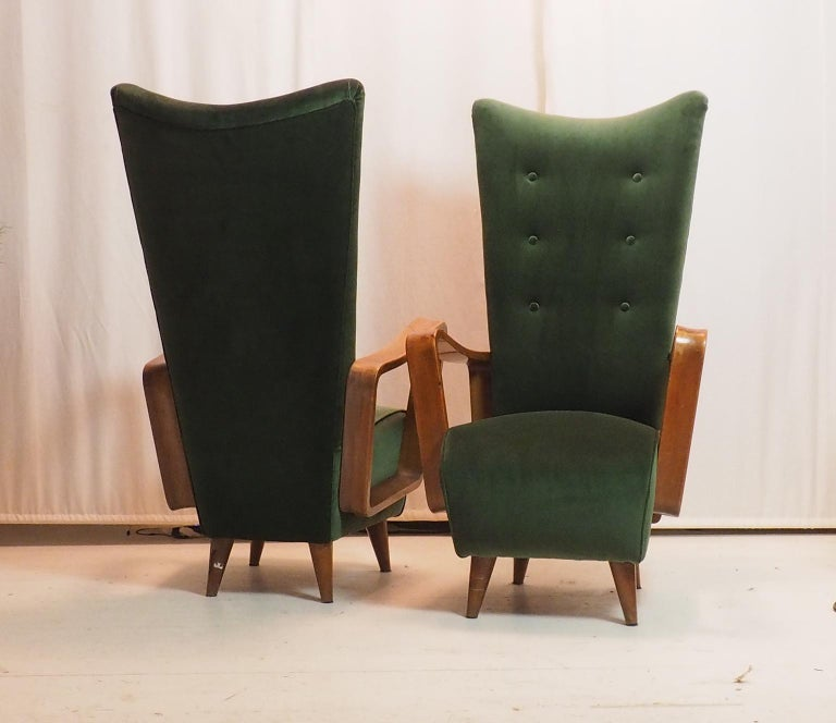 Midcentury High Back Italian Green Armchairs by Pietro Lingeri, Italy, 1950s For Sale 1