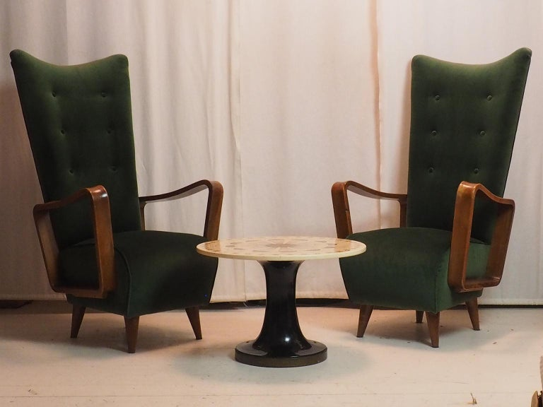 Midcentury High Back Italian Green Armchairs by Pietro Lingeri, Italy, 1950s For Sale 2