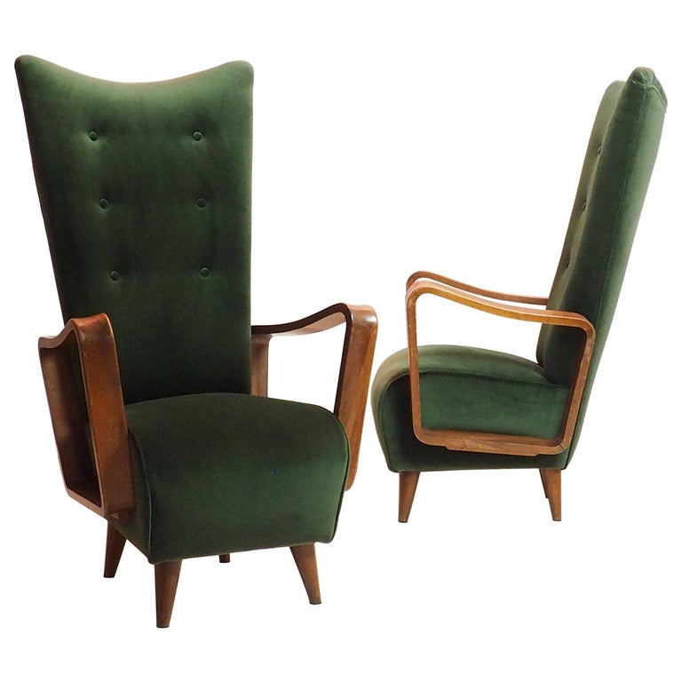 Midcentury High Back Italian Green Armchairs by Pietro Lingeri, Italy, 1950s For Sale
