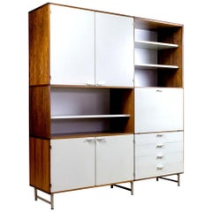 Midcentury High Board in Rosewood and White Panels by Cees Braakman for Pastoe
