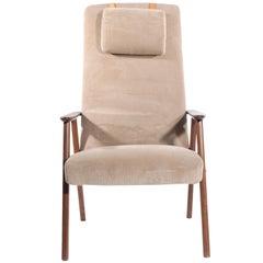 Midcentury Highback Armchair in Beige Fabric