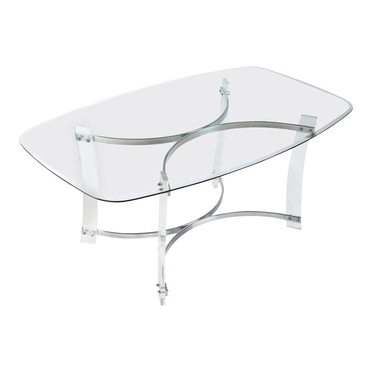 Midcentury Hollywood Regency Acrylic Lucite Glass and Chrome Modern Dining Table For Sale