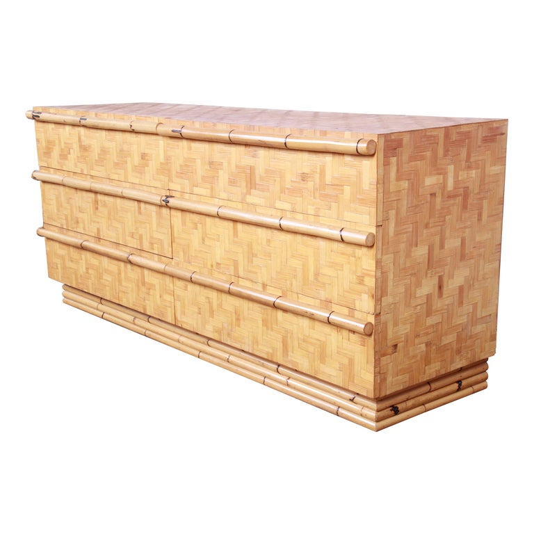 Midcentury Hollywood Regency Chinoiserie Bamboo Parquetry Dresser or Credenza For Sale