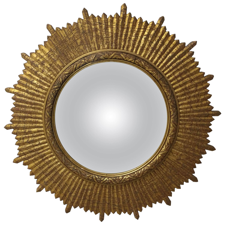 Mid Century Hollywood Regency Convex Giltwood Sunburst Mirror