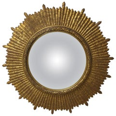 Mid Century Hollywood Regency Convex Giltwood Sunburst Mirror