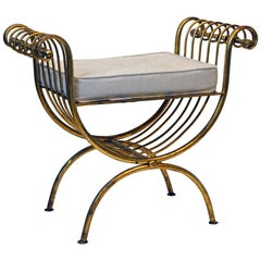 Midcentury Hollywood Regency Curule Style Gilt Metal Bench with Cushion