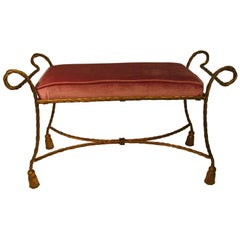 Midcentury Hollywood Regency Italian Gilt Rope and Tassel Bench