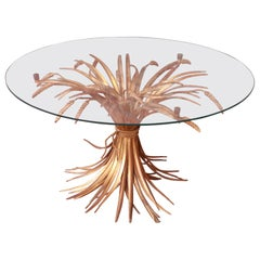 Midcentury Hollywood Regency Italian Gold Sheaf of Wheat Cocktail Table, 1960s