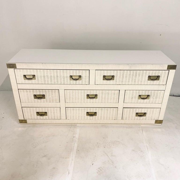 Mid-Century Modern Midcentury Hollywood Regency Palm Beach White Wicker & Brass 8-Drawer Dresser For Sale