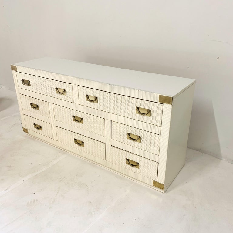 American Midcentury Hollywood Regency Palm Beach White Wicker & Brass 8-Drawer Dresser For Sale