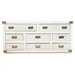 Midcentury Hollywood Regency Palm Beach White Wicker & Brass 8-Drawer Dresser