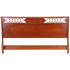 Midcentury Hollywood Regency Walnut and Burl Wood King Size Headboard