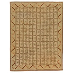 Midcentury Hooked Camel and Light Brown Handwoven Wool Rug