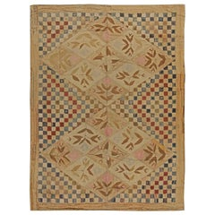 Midcentury Hooked Handwoven Wool Rug in Red, Blue and Beige Checkered Field