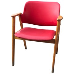 Midcentury Hungarian Chair with Red Faux Leather, circa 1960s