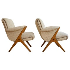 Midcentury Hungarian Cream Beech Armchairs, Set of 2