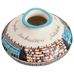 Midcentury Hungarian Hand Painted Ceramic Vase, 1960s