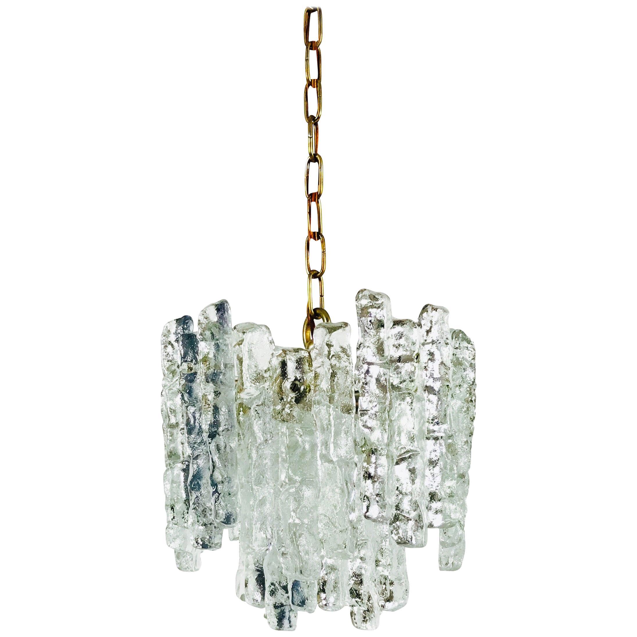 Midcentury Ice Crystal Glass Pendant Light or Chandelier by Kalmar, circa 1960s