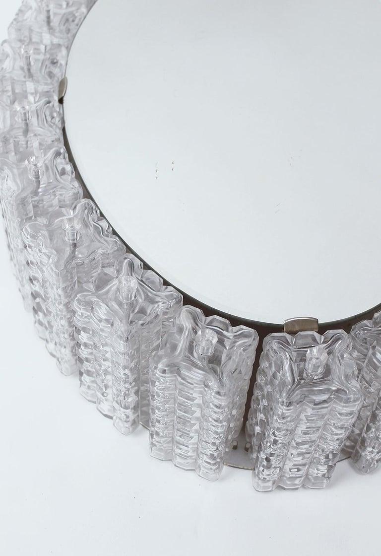 Midcentury Illuminated Glass Block Framed Oval Mirror By