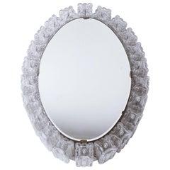 Midcentury Illuminated Glass Block Framed Oval Mirror by Austrolux, Vienna, 1960