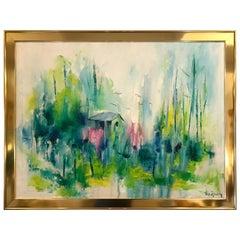 Midcentury Impressionistic Painting by Hilda Rindom