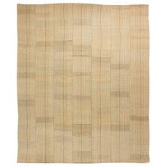 Midcentury In Style of Mazandaran Kilim Beige Handmade Wool Rug