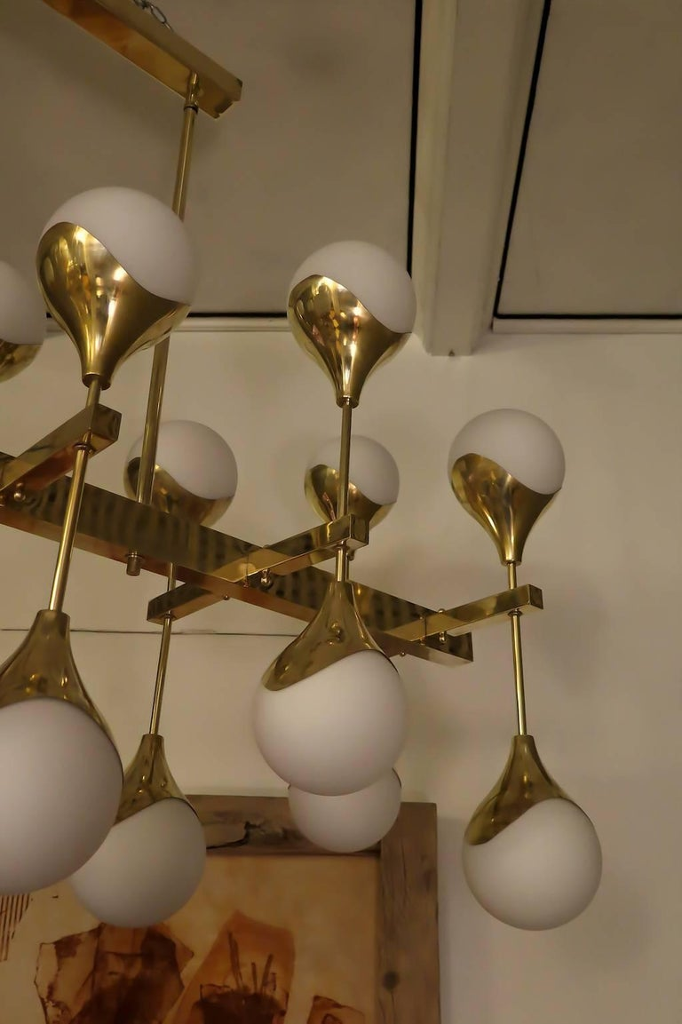Mid-Century Modern Midcentury in the Manner of Max Ingrand Brass and Glass Italian Chandelier, 2000 For Sale