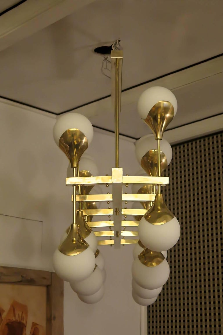 Late 20th Century Midcentury in the Manner of Max Ingrand Brass and Glass Italian Chandelier, 2000 For Sale