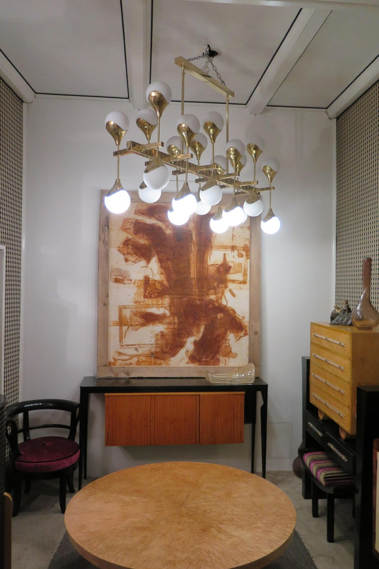 Midcentury in the Manner of Max Ingrand Brass and Glass Italian Chandelier, 2000 For Sale 2