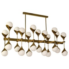 Midcentury in the Manner of Max Ingrand Brass and Glass Italian Chandelier, 2000