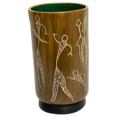 Midcentury Incised Tree Bark Vase